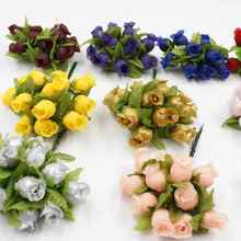 New artificial flower 24pcs/lot with leaf small roses diy crafts home decoration wedding party decorative flowers