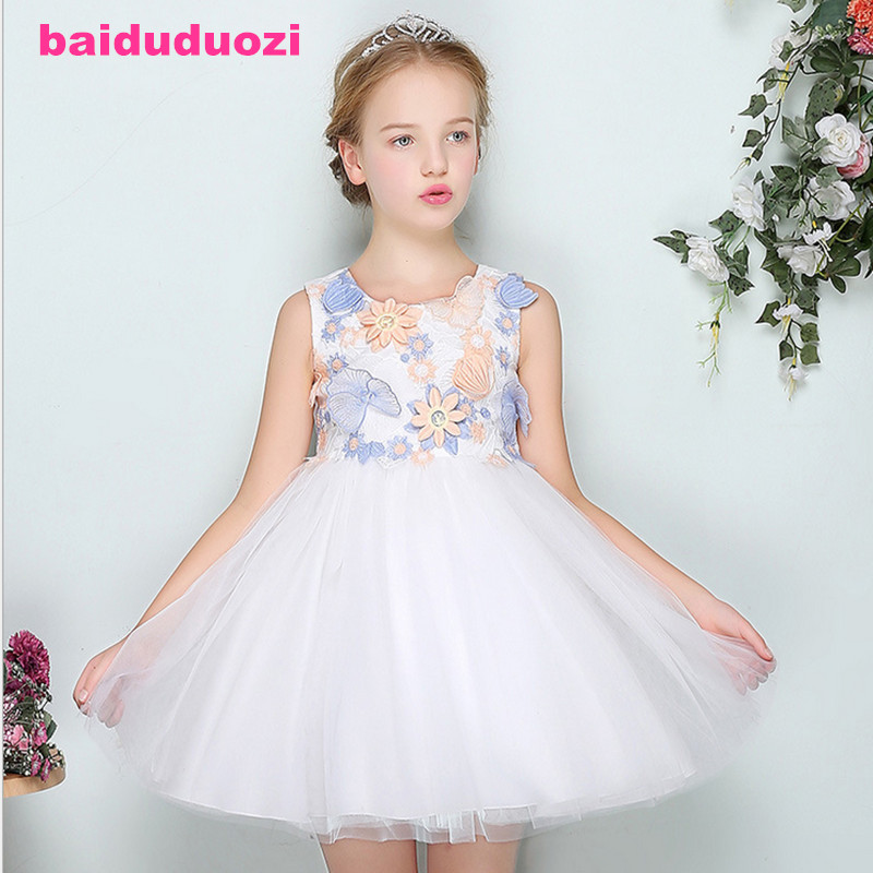 Lace Sequins Formal Evening Wedding Gown Tutu Princess Dress Flower Girls Children Clothing Kids Party Dress for Girl Clothes summer kids girls lace princess dress toddler baby girl dresses for party and wedding flower children clothing age 10 formal