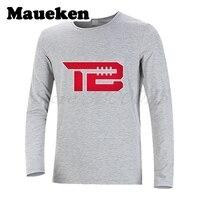 Men Autumn Winter #12 Tom Brady TB Logo New England T Shirt Long Sleeve Tees T SHIRT Men's Fashion W1031010
