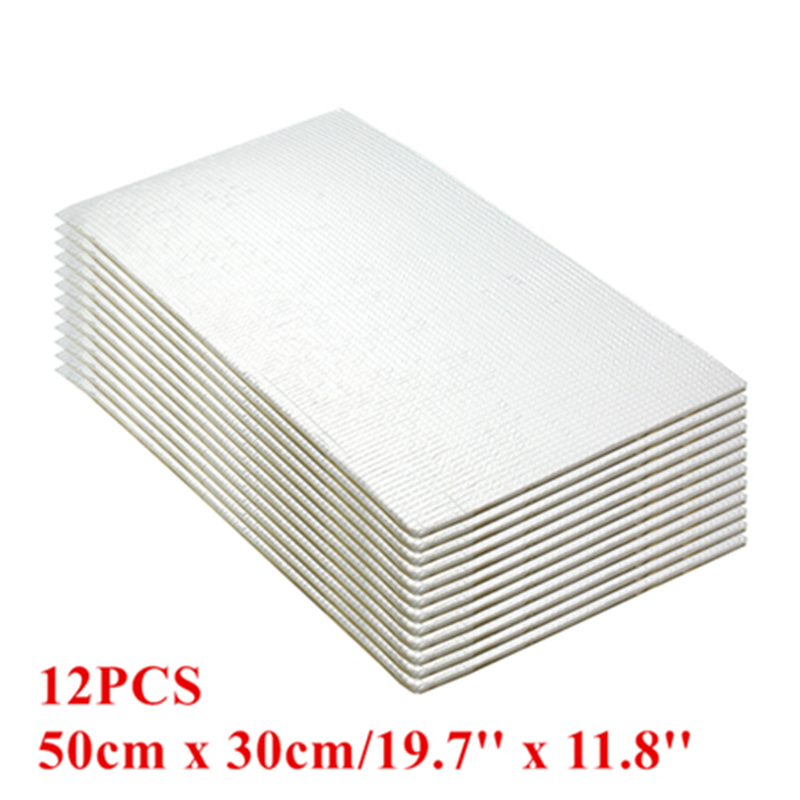 CIRCULAR 12pcs car Firewall Ceiling Door50cmx30cm 19.7''x11.8''Aluminum Foil Automotive Firewall Sound Deadener Heat Insulation