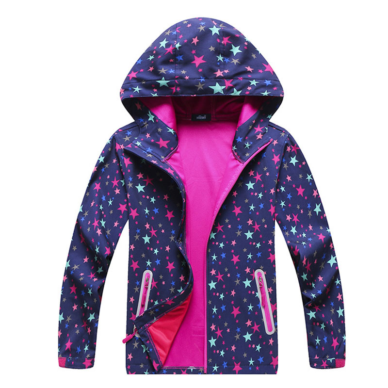 Girls Spring Softshell Windbreaker Star Printed Breathable Waterproof Jacket Hooded Cardigan Sportswear Casual Outdoor Jacket 1000pcs dupont jumper wire cable housing female pin contor terminal 2 54mm new