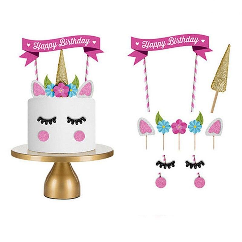 1 Set Diy Eenhoorn Party Cake Topper Cupcake Papier Bruiloft Decoratie Happy Birthday Party Baby Shower Kids Dessert Levert Uitstekend In Kusseneffect