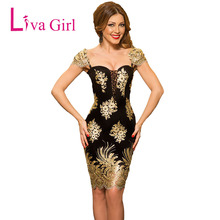 LIVA GIRL Summer Sexy Black Gold Embroidery Party Dress Women Patchwork Puff Sleeve Knee-Length Bodycon Dresses Robes Vestidos