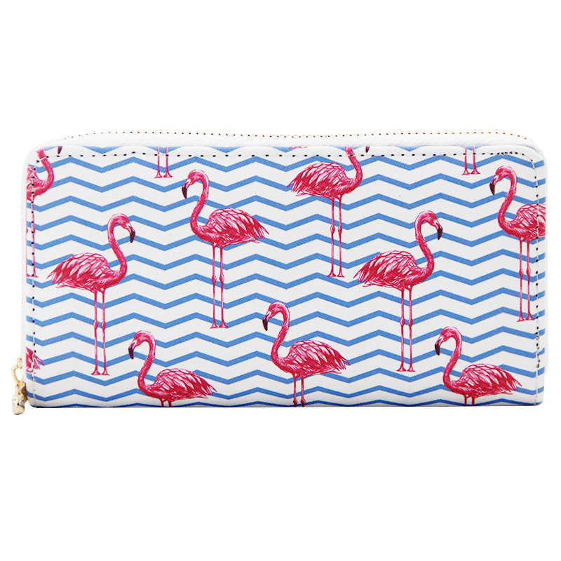 Luxury Brand Wallet Women Pu Leather Ladies Zipper Purse Print Cartoon Flamingo Card Holders Large Capacity Wallets Clutch fashion flamingo floral print women long wallet large capacity clutch purse phone bag pu leather ladies card holder wallets