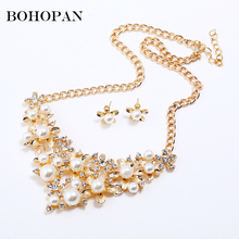 Elegant Women Wedding Jewelry Sets For Brides Simulated Pearl Jewelry Flower Crystal Gold Silver Necklaces Earrings Bijoux Set недорого