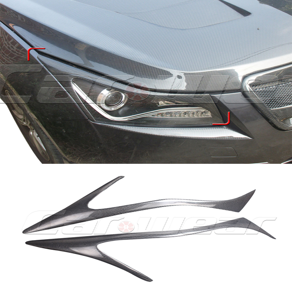 For Cruze Carbon Fiber car  Headlight Eyebrows cover trim sticker for Chevrolet 2009-2014 Free shipping high quality car central station mat sticker for chevrolet cruze black 1pcs free shipping kl12329