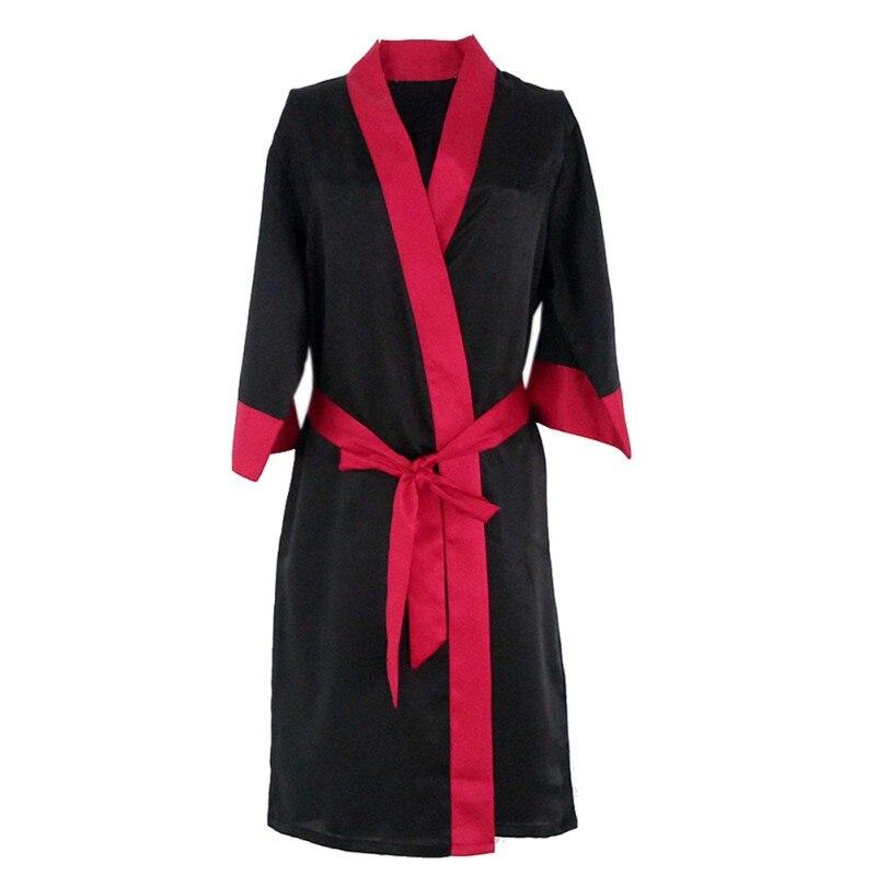 2017 Frauen Sexy Roben Solide Faux Seide Half-hülse Triming Roben Multi-farbe Dressing Kleider Weibliche Wohltuend FüR Das Sperma