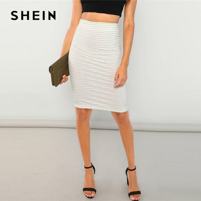 d3fb0d432 SHEIN White Horizonal Striped Bodycon Skirt Elegant Knee Length Bodycon  Skirts Women Autumn Minimalist Workwear Pencil Skirts