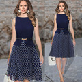 Women Casual Dress Fit & Flare Polka Dot Knee-Length Size Sleeveless Polka Round Neck Office Work Woman Casual Dress With Belt
