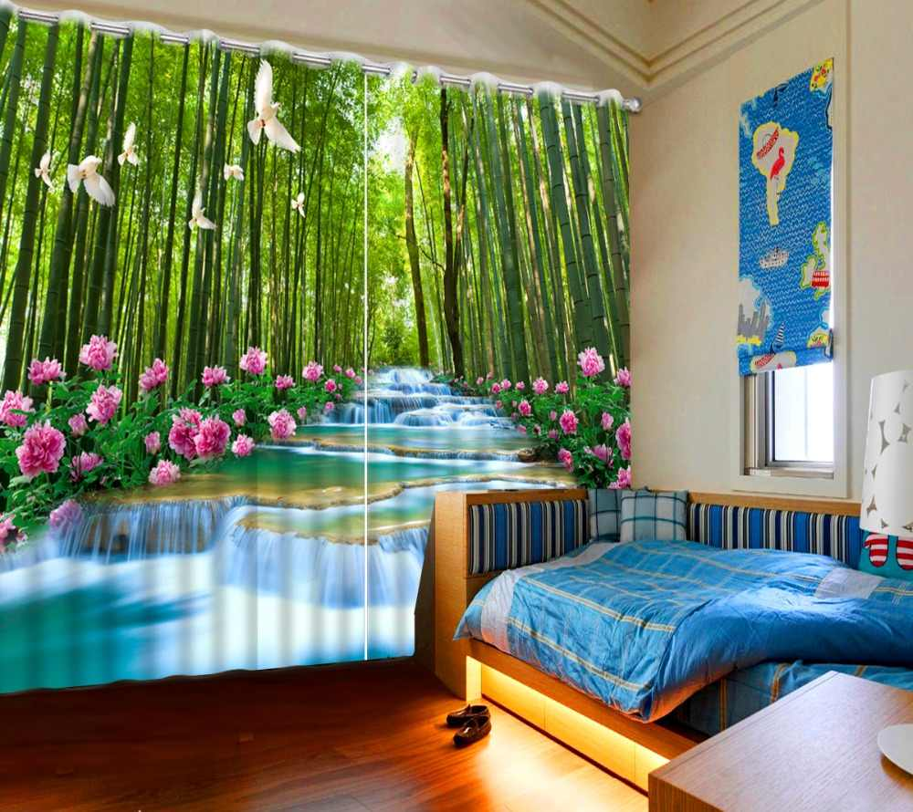 Luxury Blackout 3D Window Curtains For Living Room Bedroom bamboo forest curtains
