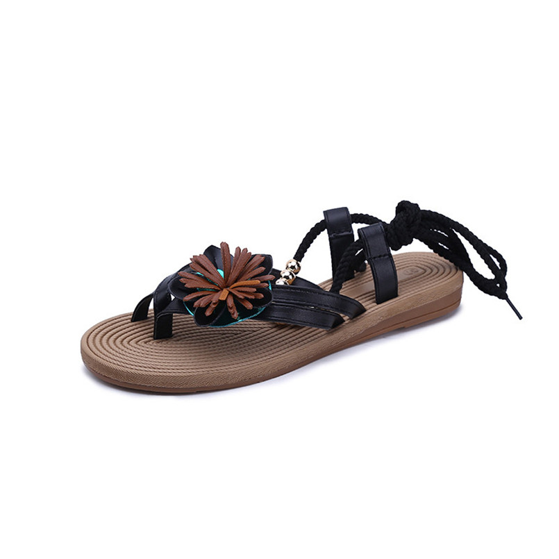 New Brand Fashion Women Flower Bandage Sandals Clip Toe Herringbone Sandals Lace-up Beach Flat Sandalias Mujer 2018 Zapatos S