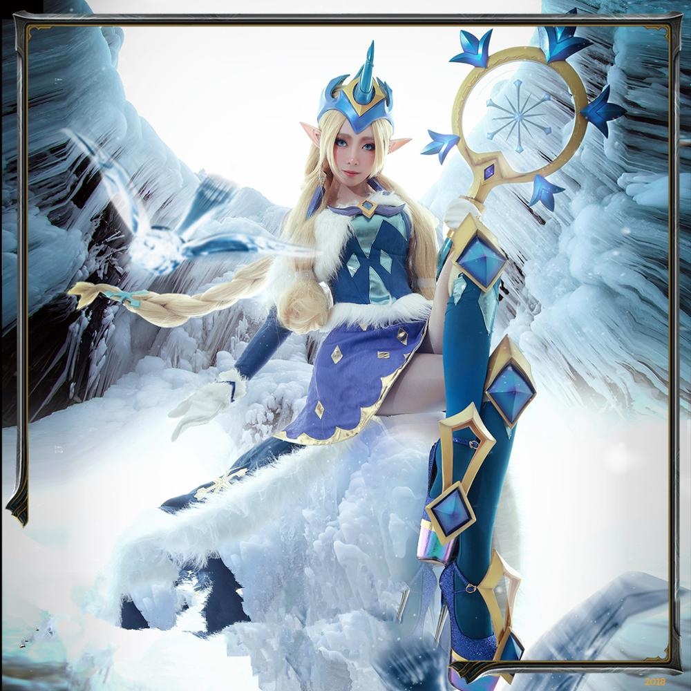 Anime 2019 LOL Star Mother Soraka ice and snow festival winter miracle dress lol costumes Cosplay Costume Fighting Dress A