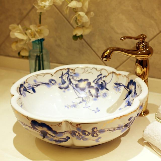 Europe Vintage Style Ceramic Art Basin Sinks Counter Top Wash Basin  Bathroom Vessel Sinks Vanities Bathroom