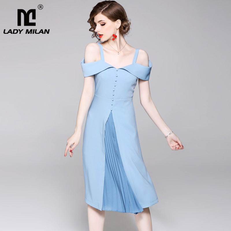 New Arrival 2018 Womens Spaghetti Straps Sexy Off the Shoulder Pleated Patchwork Fashion Elegant Summer Casual Dresses