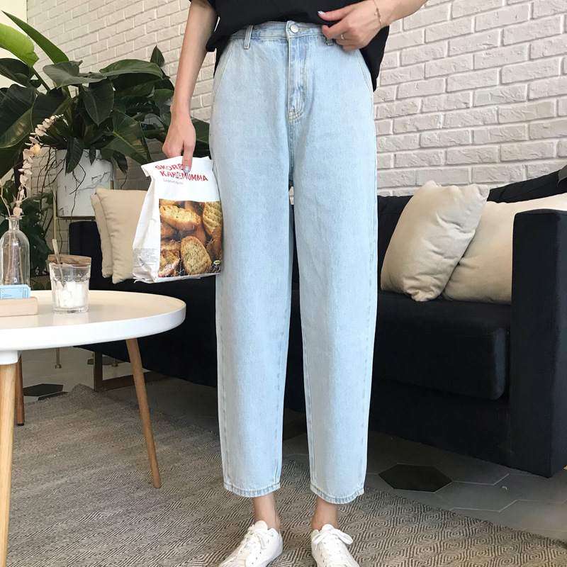 News 2018 Casual Mom Fit Jeans Straight Loose Jeans Women Baggy Pants Trendy Womens Summer Jeans Denim Light Blue Trousers