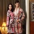 2016 New Arrivals Women's Pajamas Faux Silk Stripe Lounge Sleepwear SPA Robe Pajamas for Women Nightgown Silk Pijama for Women