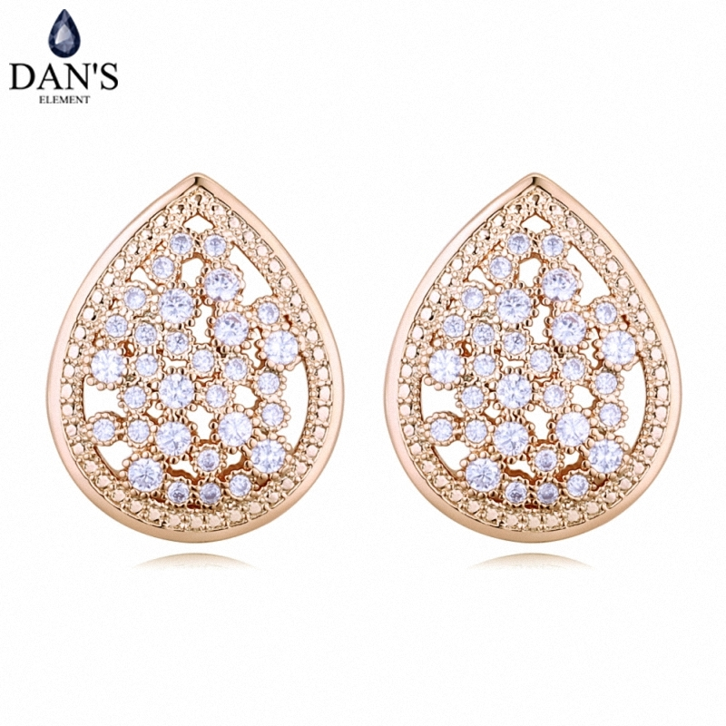 DANS 3 Colors Real Austrian crystals Stud earrings for women Earrings s New Sale Hot Round 128634