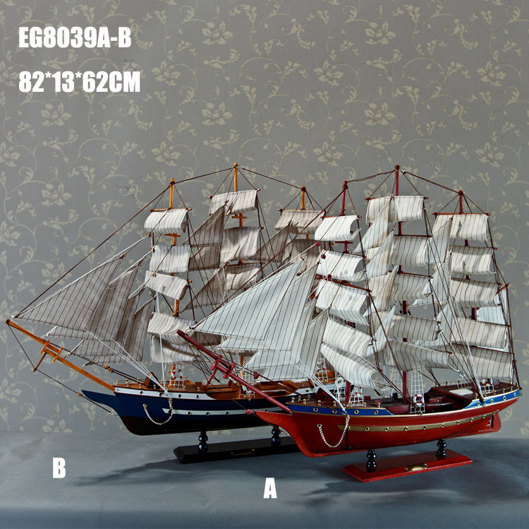 2017 Top Fashion New Nautical Europe Home Carved Pine Home Decor Crafts Sailing Boat Model Handmade Wooden Fashion Home