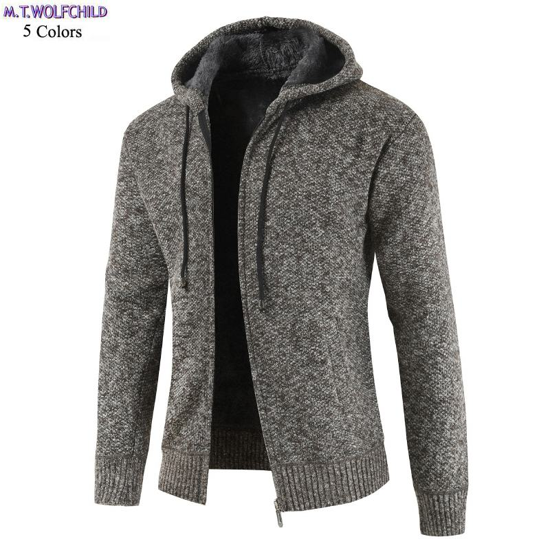 Free Shipping 2018 Winter Mens Long Sleeve Hooded Knitted Coats Casual Fleece Mens Zipper Sweaters Fashion Mens Clothing Tops