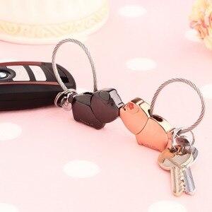Image 5 - Milesi cute kiss Pig couple keychain for lover christmas gift women key holder chain keyring fashion souvenir pendant k0176