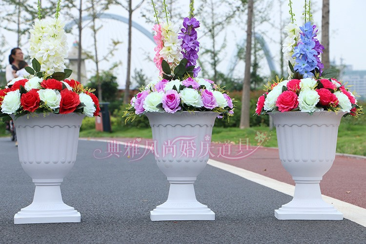 Wedding White Plastic Flower Pots For Roman Pillar Road Lead Decoration Decor Stands 10 Pcs Lot In Vases From Home Garden On