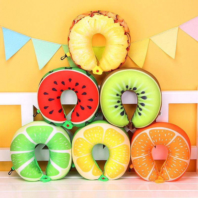 Beschouwend Fruit U Vormige Reiskussen Nanodeeltjes Hals Protector Watermeloen Citroen Kiwi Oranje Vliegtuig Auto Kantoor Kussens Zachte Kussen Kortingen Sale