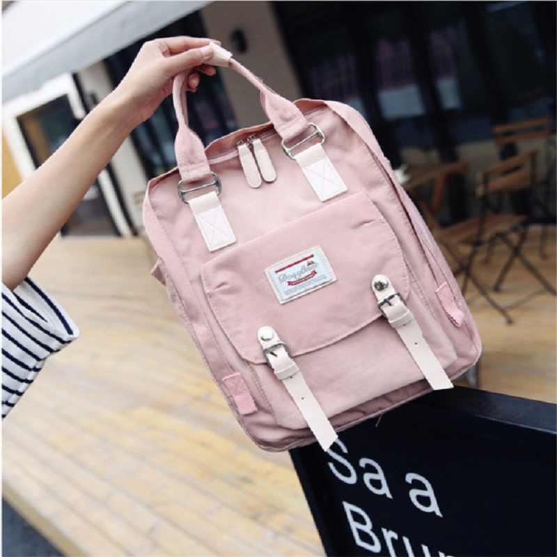 2019 koreański nowy stylowy płócienny plecak na laptopa kobiety plecaki podróżne zamek o dużej pojemności moda tornistry dla dziewcząt Mochila