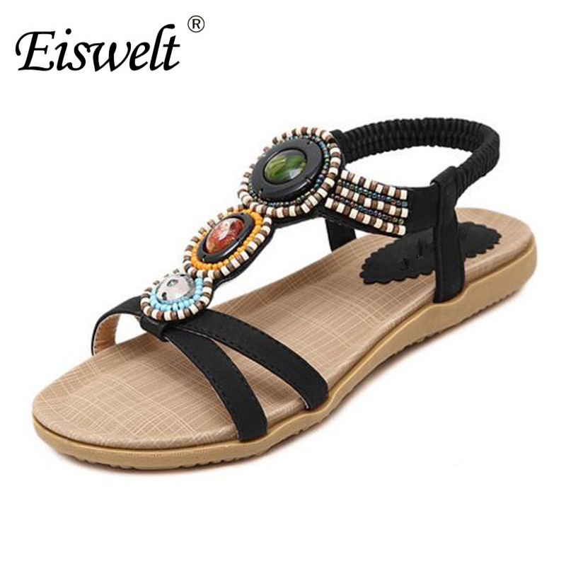 Eiswelt 2017 Women Newest Summer Bohemia Beach Beaded Rubber Soft Sole Rhinestone Sandals With Flower Sandals Shoes#DZW68 ulrica 2017 summer new arrival bohemia sweet beaded sandals clip toe sandals beach shoes footwear shoes for women zapatos mujer