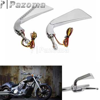 """Chrome aluminium moto ambre LED rétroviseur latéral avec Axe clignotants séquentiels 5/16 """"boulon pour Harley Dyna Softail Sportster"""