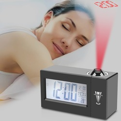 LCD Screen Digital LED Projection Alarm Clock Calendar Temperature Humidity Wake Up Snooze Function Table Desk Clock Night Light