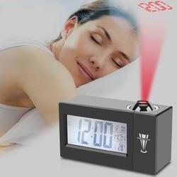 LCD Screen Digital LED Projection Alarm Clock Calendar Temperature Humidity Wake Up Snooze Function Table Desk Clock Night Light