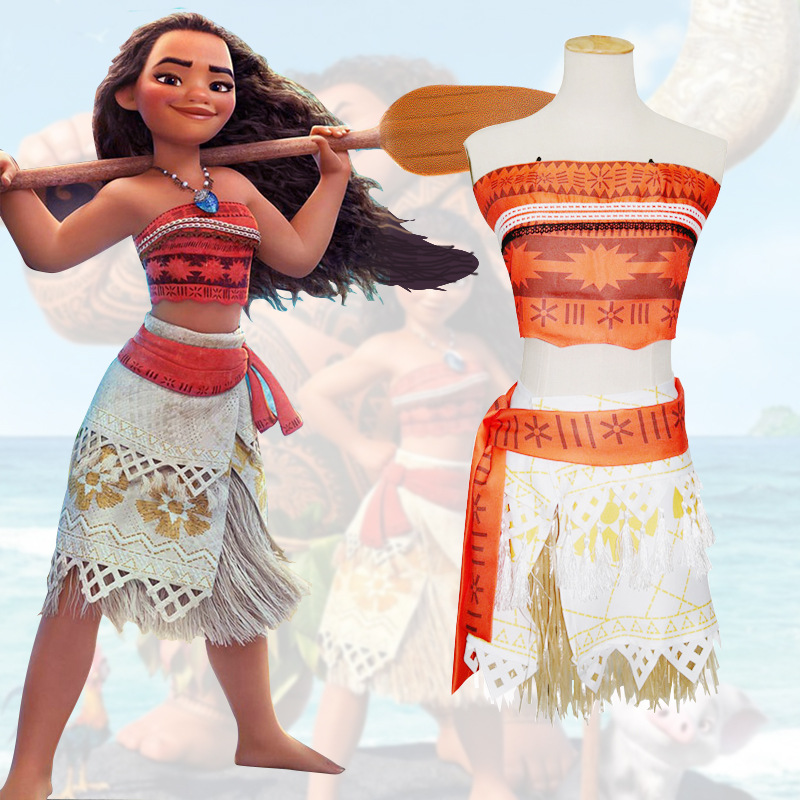 Princess Moana Cosplay Costume for Children Moana Costume with Necklace for Adult Women Halloween Costumes for Kids Girls Gift