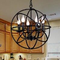 שחור בציר תעשייתי תליון אור נורדי רטרו אורות ברזל אהיל לופט אדיסון מנורת מתכת כלוב אוכל חדר כפרי