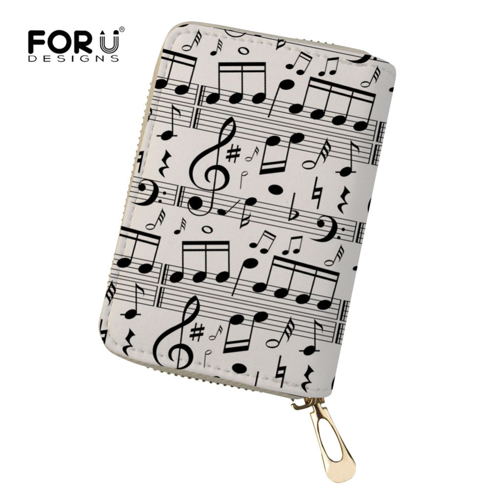 FORUDESIGNS Music Notes Printing Credit Card Holder Wallet Function 18 Bits ID Card Case Business Leather Travel Purse Card Girl