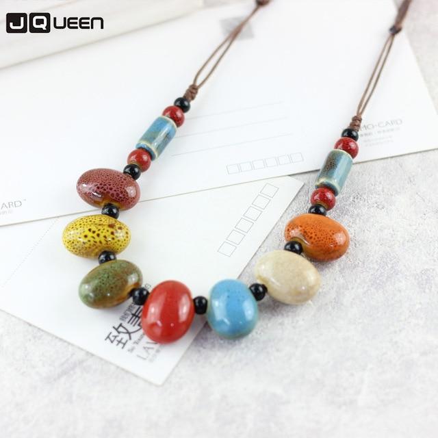 a093be7742d6 Collar de cuentas de colores ovalados de cadena de suéter de cerámica de  estilo étnico para mujer collares de cuerda hechos a mano joyería de moda  al por ...