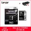 Lexar 1667X SD karty 128 GB 64 GB 256 GB klasy 10 U3 V60 karty pamięci 64 128 gb 250 MB Flash karty pamięci SD z wyborem dań z karty do aparatu SDXC SDHC