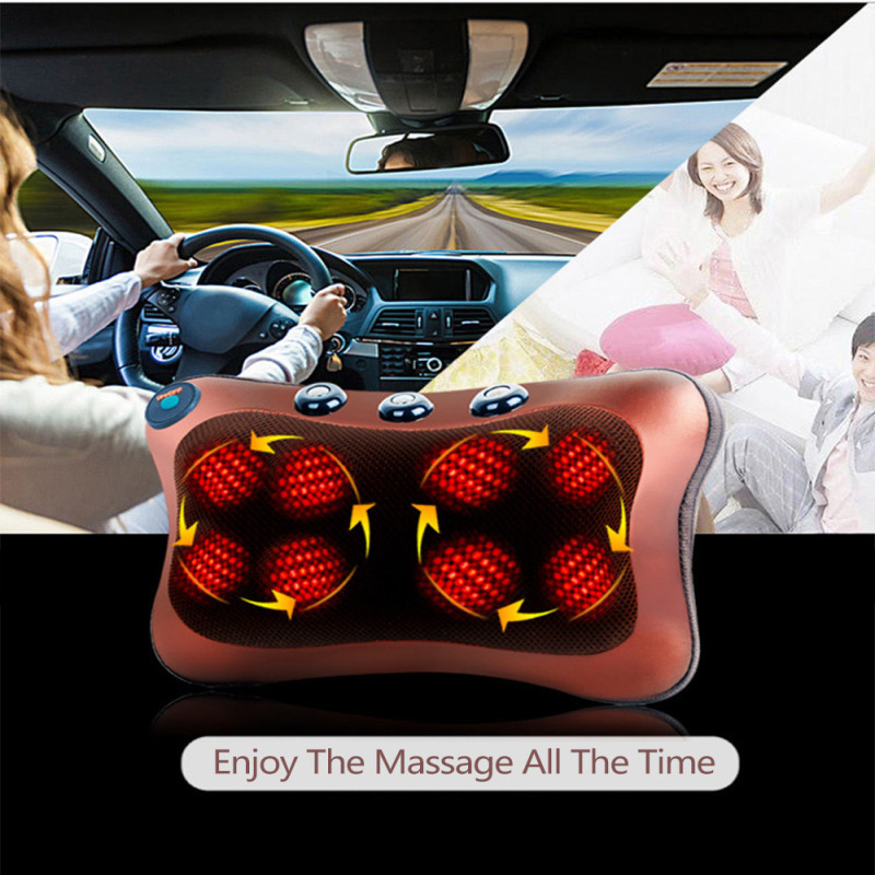 Relaxation Vibrator Electric Massage Pillow For Shoulder Back With Heating Kneading Infrared Therapy 8