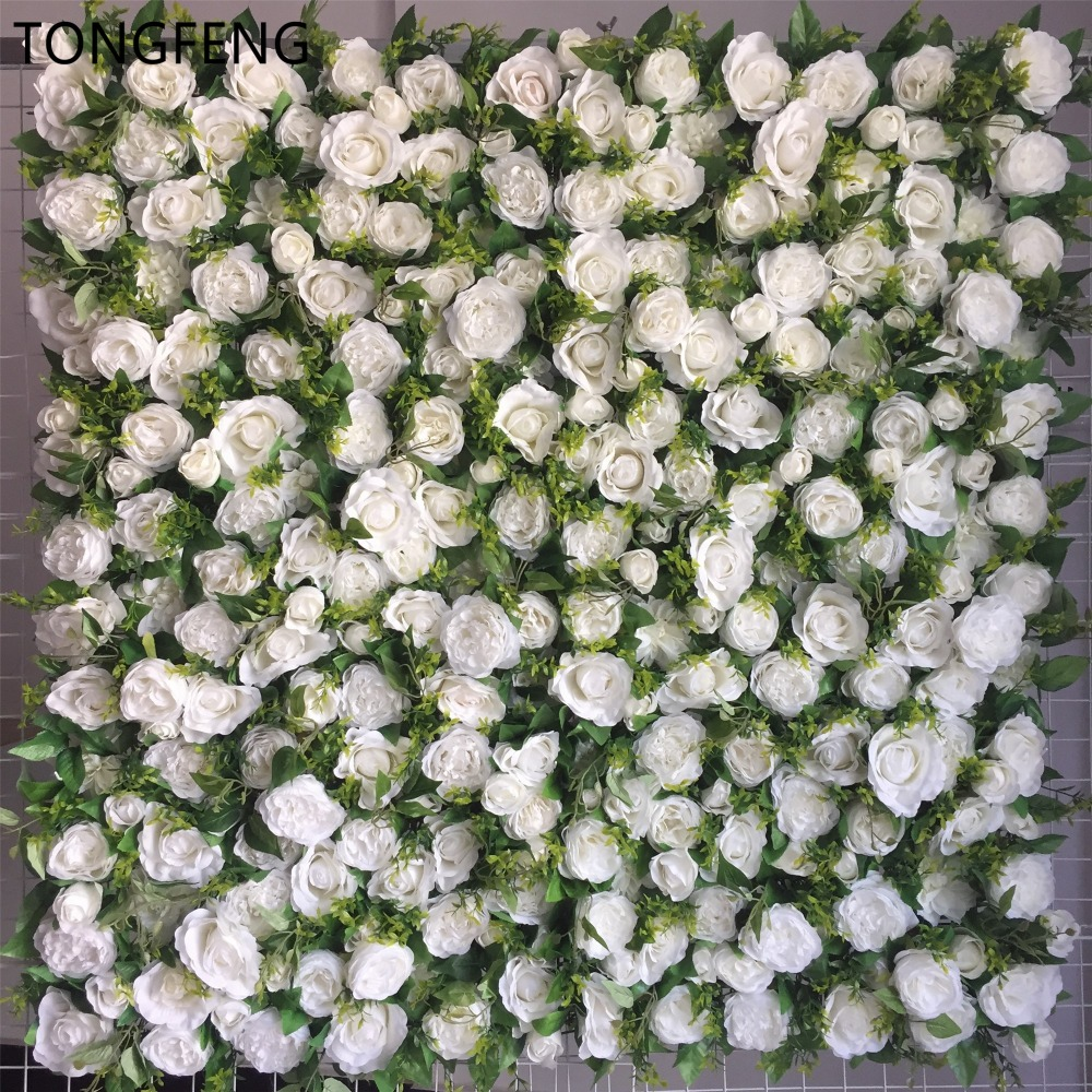 TONGFENG 8 sztuk/partia biały ślub 3D kwiat ściany kwiat runner ślub sztuczny jedwab róży piwonia ślub tło dekoracji w Sztuczne i zasuszone kwiaty od Dom i ogród na  Grupa 1