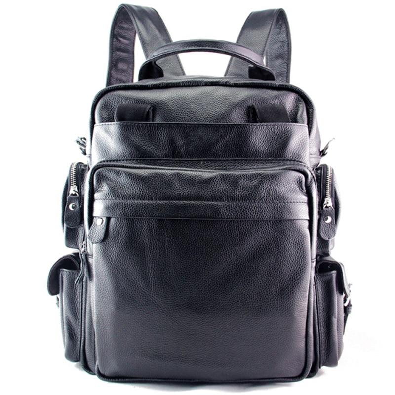 Multi function Cowhide Genuine Leather Men s Backpack Leather School Backpack bag Rucksack Travel Backpack Bag