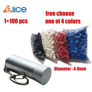 (100+1) Free choose colors 100 pcs 4-8 MM small  stop lock +1 Mini bullet magnetic key .