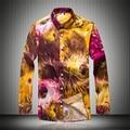 Los hombres Camisas Florales Nueva Llegada Del Otoño Del Resorte Diseño Digital Slim Fit Camisas de Vestir de Marca de Manga Larga Casual Camisas Sociales F1840