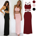 European American Hot Sale Skirts Sexy Club Party Girls Set Short Top with Long Skirts Sexy Lacing Fashion Summer Skirts