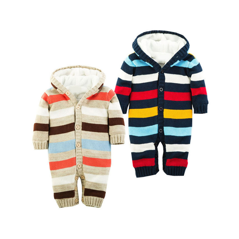 6M-18M Baby Clothing Baby Girl Rompers Colored Striped Knitted Romper Cotton Thickening Coral Velvet Winter Baby Boy Rompers V20