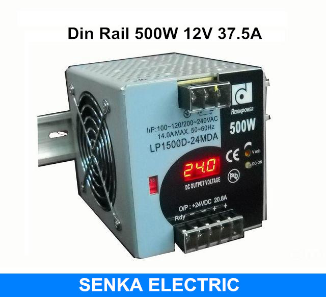 500W 12V 37.5A din rail switching power supply switching power supply with LED display monitor smps MDR-500-12 image