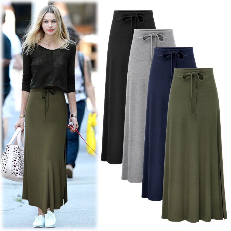 S-6xl Plus Size Summer Solid Knitted Long Pencil Skirt Womens2019 Autumn High Waist Lack Up Black Maxi Skirt For Women
