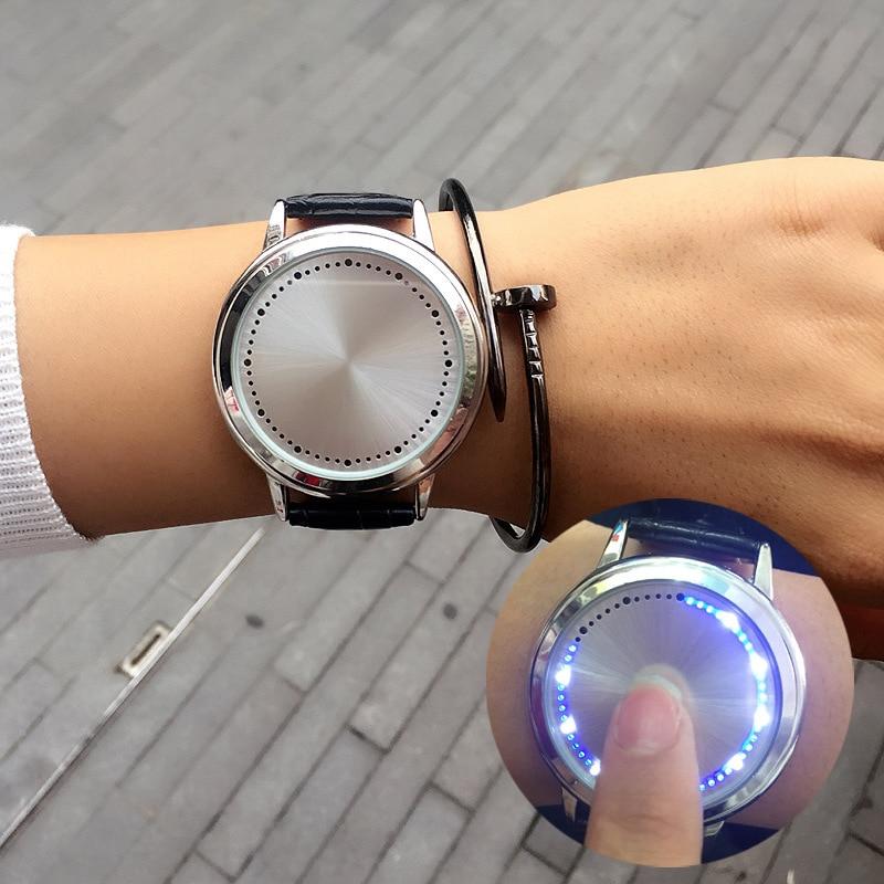 где купить Cool LED Black White Tree Pattern Touch Screen Steel Shell Watches Genuine Leather Strap Digital Watch lovers' Wrist Watch gift по лучшей цене