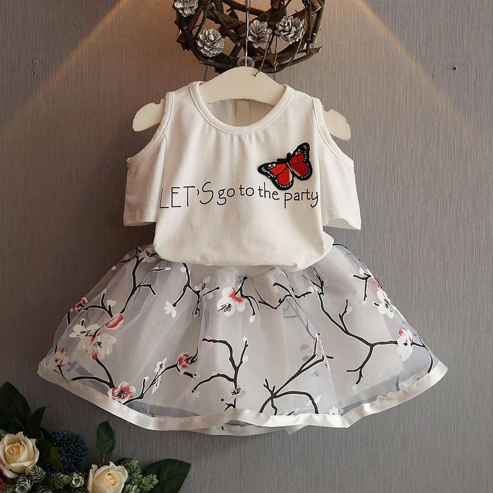 Kids Girls Letter Butterfly Shirt Top Flowers Skirt Set Clothing fashion 2019 summer children sets baby clothes girls set オフショル 水着 花 柄
