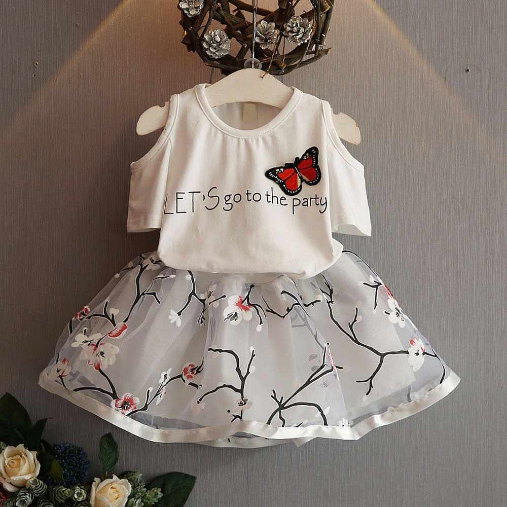 4369e330b31d9 Kids Girls Letter Butterfly Shirt Top Flowers Skirt Set Clothing fashion 2019  summer children sets baby