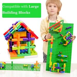 Image 4 - Creatività Tubo Blocchi di Costruzione Assemblaggio Giocattolo per I Bambini Educational Tunnel Modello di Blocco di Mattoni