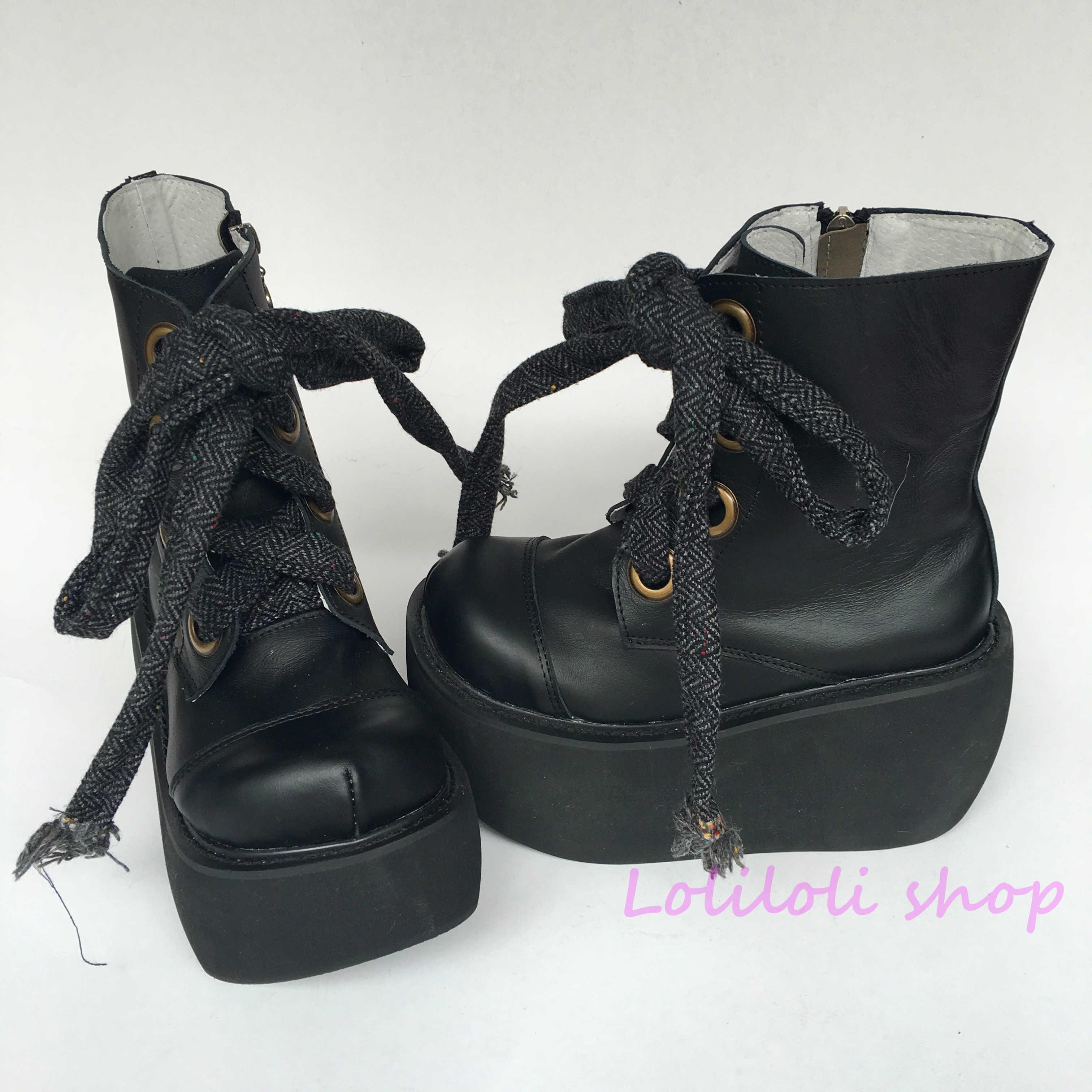 Chaussures princesse punk Lolilloliyoyo antaina design japonais cos chaussures personnalisé fond épais noir croix peau de vache chaussures plates an2003
